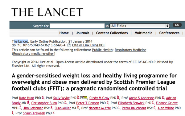 A_gender-sensitised_weight_loss_and_healthy_living_programme_for_overweight_and_obese_men_delivered_by_Scottish_Premier_League_football_clubs__FFIT___a_pragmatic_randomised_controlled_trial___The_Lancet