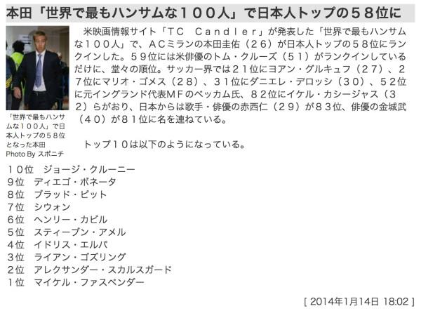 本田「世界で最もハンサムな100人」に選ばれた