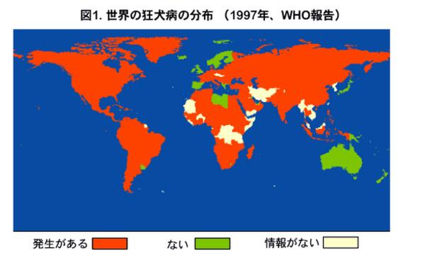 世界の狂犬病の分布