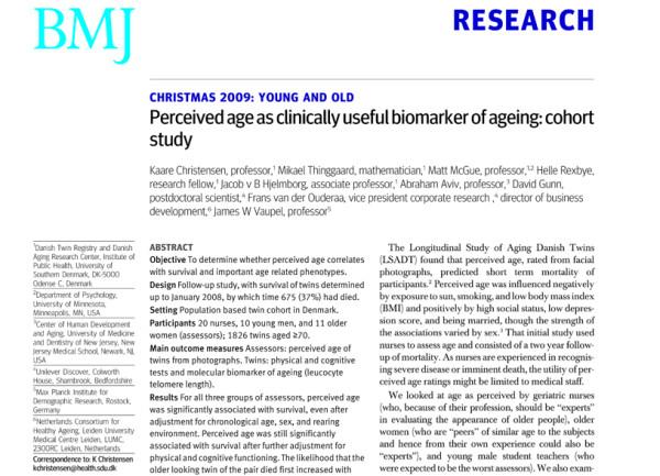 双子の見た目と寿命の関係を調べた論文