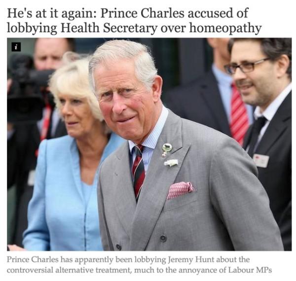 ホメオパシーのためにロビー活動を行っていると批判されているチャールズ皇太子
