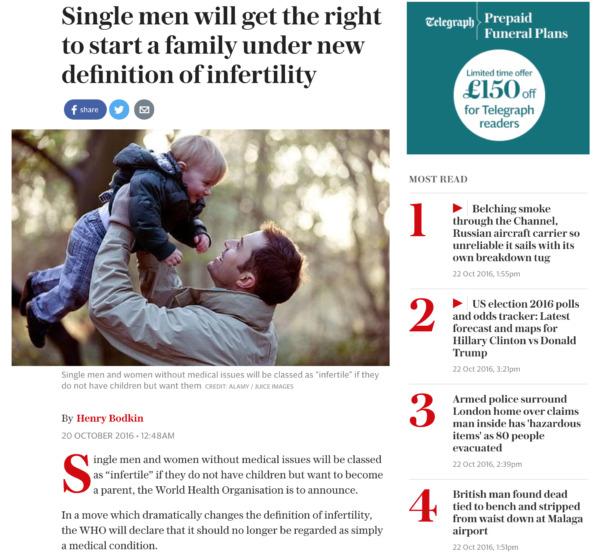 独身だけど、親になれない人を不妊とWHOは分類しています
