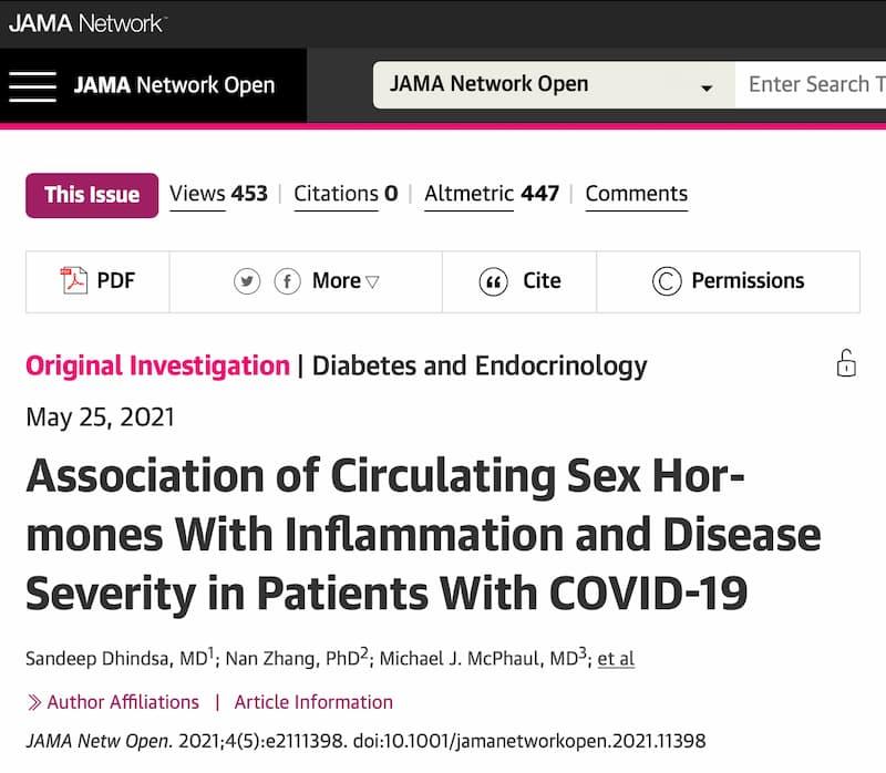 JAMA  感染症の重症化リスクとテストステロンの関係