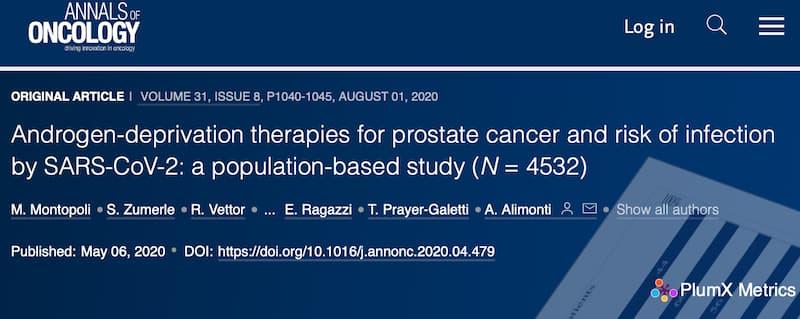 アンドロゲン除去療法を受けている前立腺癌患者は感染しにくい