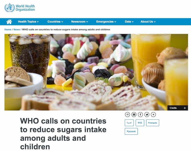 WHOは大人と子供の砂糖摂取を減らすように注意喚起