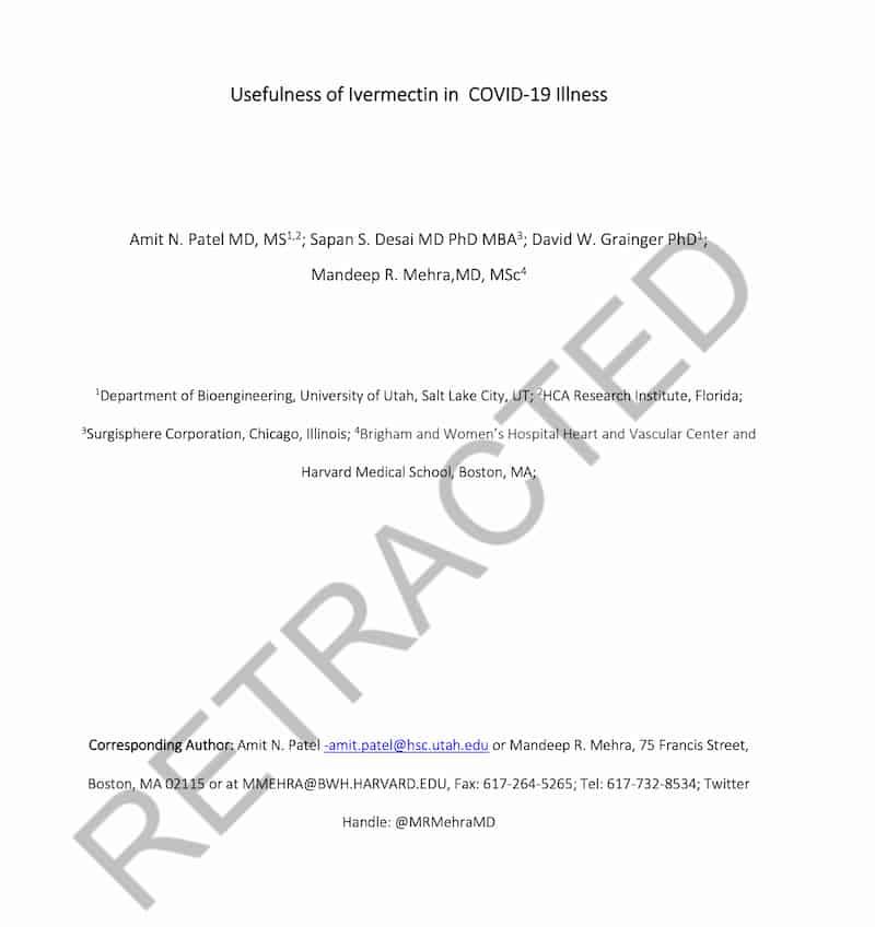 イベルメクチンの有効性を示した論文が撤回